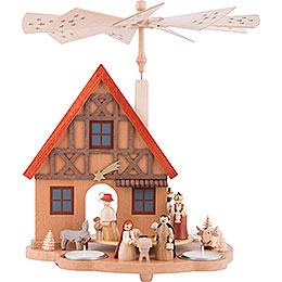 1 - Tier Table Pyramid House Nativity  -  29cm / 11.4 inch