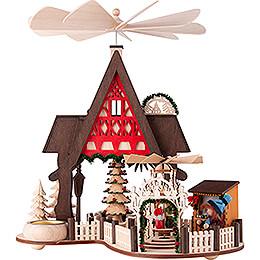 1 - stöckige Hauspyramide Fachwerkhaus - Weihnachtsmarkt  -  30cm