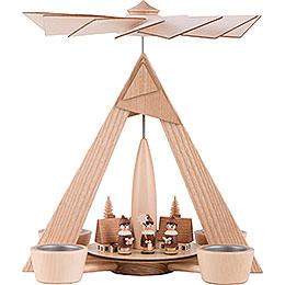 1 - stöckige Pyramide Kurrende Seiffen natur  -  29cm