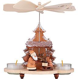 1 - stöckige Pyramide Weihnachtsmann auf Striezelmarkt natur  -  19,5cm