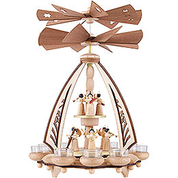 2 - Tier Pyramid  -  Angels with Two Counter Rotating Winged Wheels  -  43cm / 17 inch