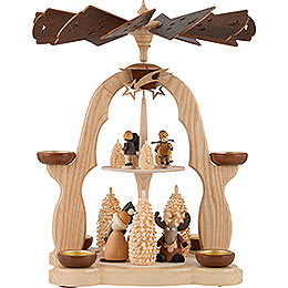 2 - Tier Pyramid  -  Moose and Snowman  -  40cm / 16 inch