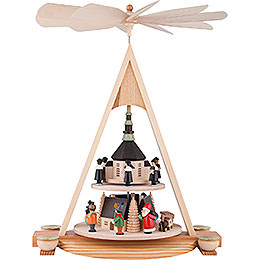 2 - Tier Pyramid with Seiffener Christmas Scene  -  43cm / 16.9 inch