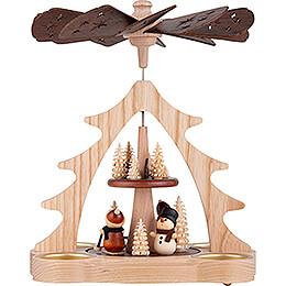 2 - stöckige Pyramide Weihnachtsmann und Schneemann  -  22cm