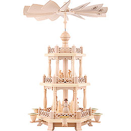 3 - Tier Pyramid  -  Baroque Fence and Snowmen  -  47cm / 19 inch