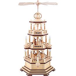3 - Tier Pyramid  -  The Christmas Story  -  58cm / 23 inch  -  230 V Electr. Motor