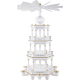 3 - Tier Pyramid  -  without Figurines, White - Gold  -  51cm / 20 inch