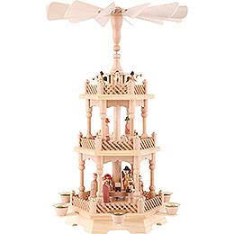 3 - stöckige Pyramide Christi Geburt, natur  -  49cm