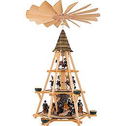3 - stöckige Pyramide mit Göpel, Bergbauszene  -  70cm