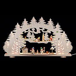 3D Candle Arch  -  'A Snowman's Wonderland'  -  66x40x8,5cm / 26x16x3.3 inch