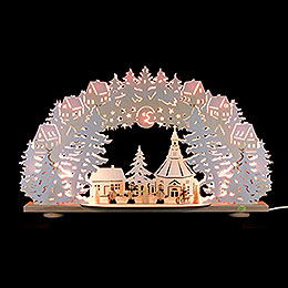 3D Candle Arch  -  'Winter in Seiffen' with White Frost  -  66x41x11,5cm / 26x16x4.5 inch