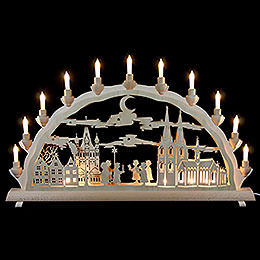 3D Double Arch  -  Cologne Cathedral with Carolers  -  68x35cm / 27.8x13.8 inch