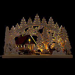 3D Double Arch  -  Mountain Cabin with Carver  -  72x43cm / 28x17 inch