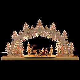 3D - Schwibbogen Weihnachtsmann mit Rentierschlitten  -  61x34x6cm