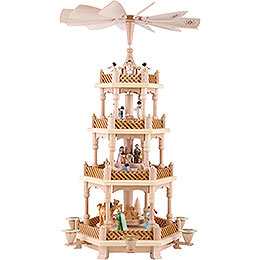 4 - Tier Pyramid  -  Nativity Scene Painted  -  54cm / 21 inch