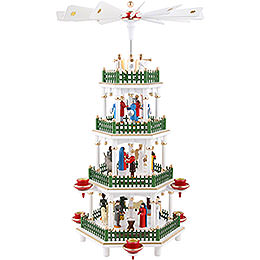 4 - Tier Pyramid  -  Nativity Scene White  -  47cm / 18 inch