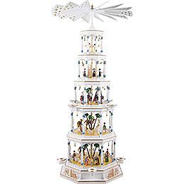 5 - stöckige Pyramide Christi Geburt mit Spielwerk  -  123cm
