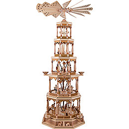 5 - stöckige Pyramide Christi Geburt  -  natur  -  123cm