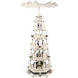 6 - stöckige Weihnachtspyramide weiß - grün, elektrisch  -  106cm  -  220V Motor