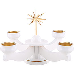 Advent Candle Holder  -  Star, for Thick Candles Or Tea Candles, White  -  19cm / 7.5 inch