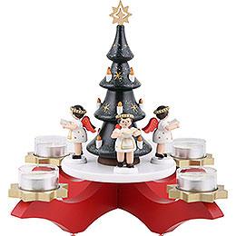 Adventsleuchter Rot mit Baum und 4 Engeln farbig, mit 4 Teelichtern  -  27cm