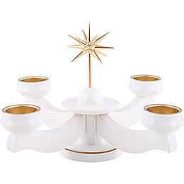 Adventsleuchter Weihnachtsstern, für Stumpen oder Teelichter, weiß  -  19cm