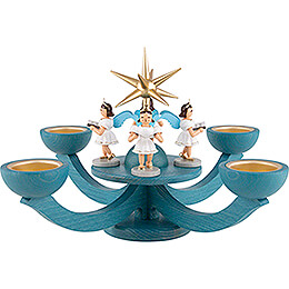 Adventsleuchter blau, mit Teelichthalter und 4 stehenden Engeln  -  31x31cm