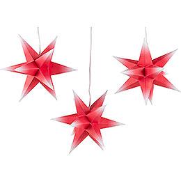 Adventsstern 3er - Set rot - weiß inkl. Beleuchtung  -  17cm