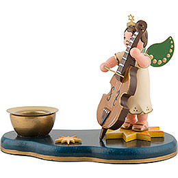 Angel Boy with Doublebass  -  Candle Holder  -  6,5cm / 2,5 inch