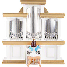 Angel Short Skirt Colored, Organ with Music Box  -  15,5x15cm / 5.9x6.1 inch