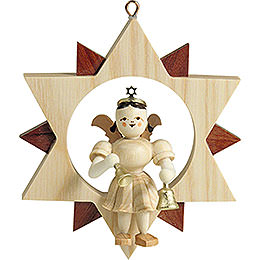 Angel Sitting in a Star with Bells, Natural  -  9cm / 3.5 inch