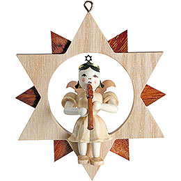 Angel Sitting in a Star with Flute, Natural  -  9cm / 3.5 inch
