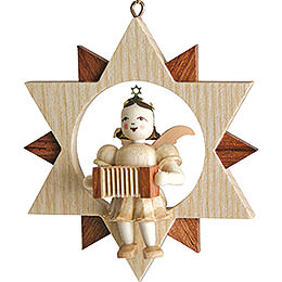 Angel Sitting in a Star with Harmonica, Natural  -  9cm / 3.5 inch
