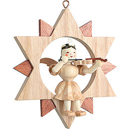 Angel Sitting in a Star with Violin , Natural  -  9cm / 3.5 inch