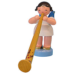Angel with Alphorn  -  Blue Wings  -  Standing  -  6cm / 2,3 inch