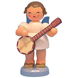 Angel with Banjo  -  Blue Wings  -  Standing  -  9,5cm / 3,7 inch