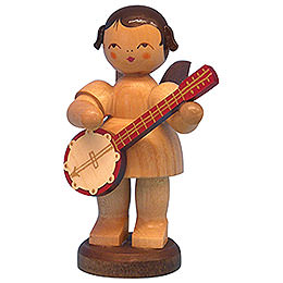 Angel with Banjo  -  Natural Colors  -  Standing  -  9,5cm / 3,7 inch