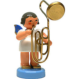 Angel with Contrabass Trombone  -  Blue Wings  -  Standing  -  6cm / 2.4 inch