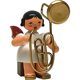 Angel with Contrabass Trombone  -  Red Wings  -  Sitting  -  6cm / 2.4 inch