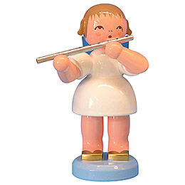 Angel with Flute  -  Blue Wings  -  Standing  -  9,5cm / 3,7 inch