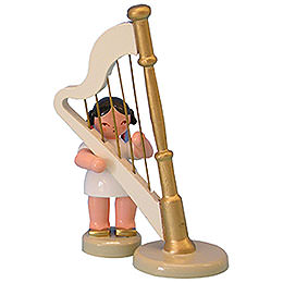 Angel with Harp  -  Red Wings  -  Standing  -  6cm / 2,3 inch
