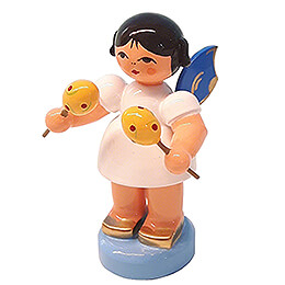 Angel with Maracas  -  Blue Wings  -  Standing  -  6cm / 2.4 inch