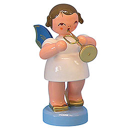Angel with Trumpet  -  Blue Wings  -  Standing  -  6cm / 2,3 inch