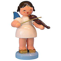 Angel with Violin  -  Blue Wings  -  Standing  -  9,5cm / 3,7 inch