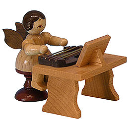 Angel with Zither  -  Natural Colors  -  Standing  -  6cm / 2,3 inch