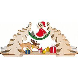 Bastelset Teelichtbogen Weihnachtsmann mit Elch  -  12cm