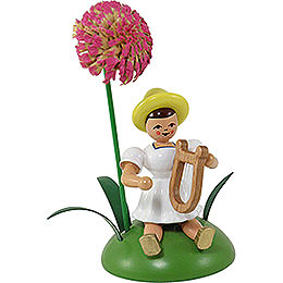 Blumenkind mit Chrysantheme und Lyra sitzend  -  12cm