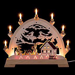 Candle Arch  -  House and Snowmen  -  48cm / 18.9 inch