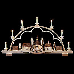 Candle Arch  -  Seiffen Village Natural Wood  -  80x15x43cm / 31.5x6x17 inch