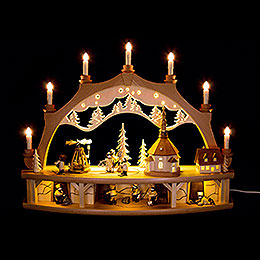 Candle Arch  -  Seiffen Village with Turning Pyramid and Moving Figurines  -  68x50cm / 26.8x19.6 inch